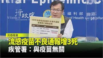 增流感疫苗不良通報3死 疾管署:與疫苗無關