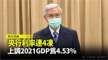 央行利率連4凍 上調2021年GDP為4.53%
