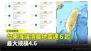 更新/台東海端鄉今晨連6震! 最大規模4.6