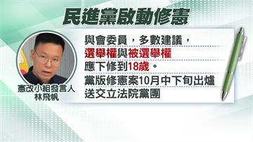 民進黨憲改小組提18歲公民權 拚10月完成