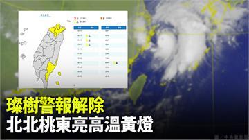 璨樹颱風警報解除  北北桃東亮高溫黃燈