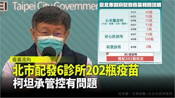 台北市配發6診所202瓶疫苗 柯文哲坦承管控有問...