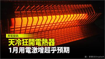 天冷狂開電熱器 1月用電激增超乎預期