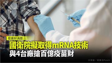 國衛院計畫取得mRNA技術 與4台廠共搶百億疫苗...