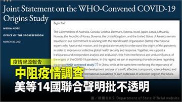 中阻世衛疫情調查 美等14國聯合聲明批不透明