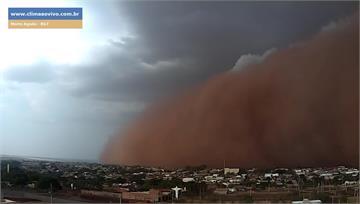 影/巴西驚見「末日沙塵暴」天空呈橘紅色 監視器縮...