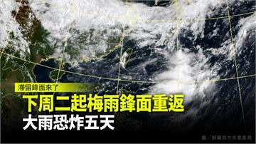 下週二起梅雨鋒面重返 大雨恐炸5天
