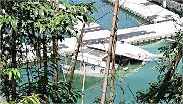 日月潭水位回升 駁船浮起「卡卡」毀碼頭