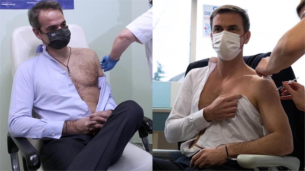 希臘總理米佐塔基斯(左)、法國衛生部長維宏(右)接種疫苗「秀肌肉」。圖:翻攝自Facebook@kyriakosmitsotakis、@veranolivier