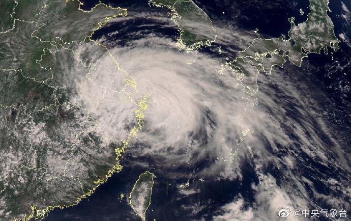 預計25日晚間,「烟花」颱風就會從浙江象山到江蘇啟東一帶登陸。圖/翻攝自中央气象台微博