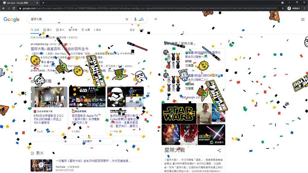 為慶祝星際大戰日,Google推出限定彩蛋特效。圖/台視新聞