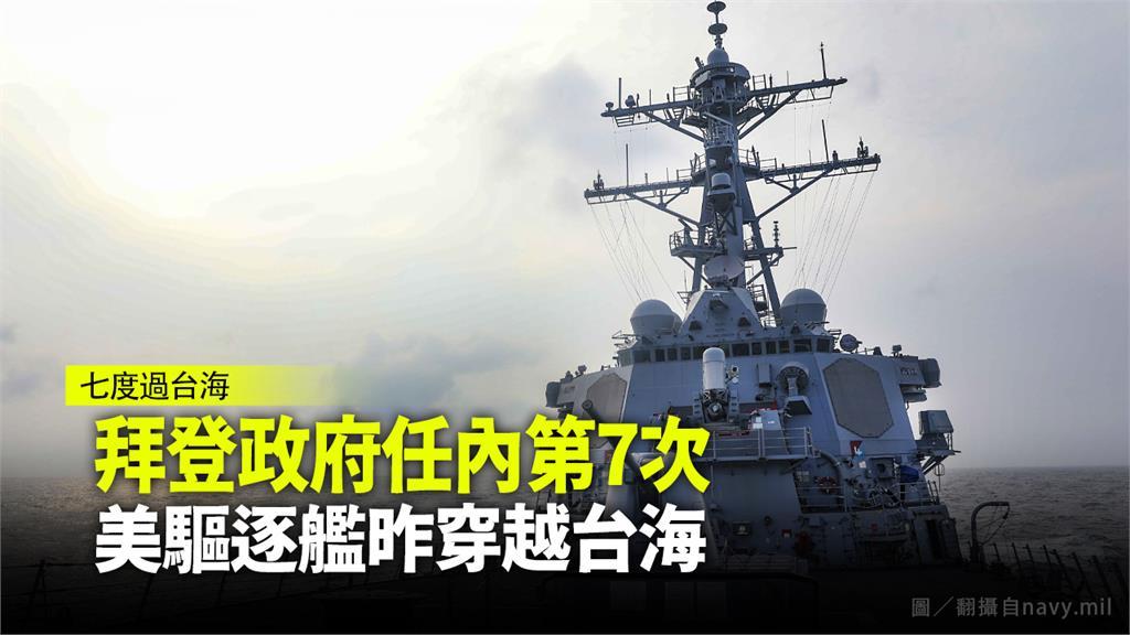 拜登政府任內第7次,美驅逐艦昨穿越台海。圖/翻攝自navy.mil