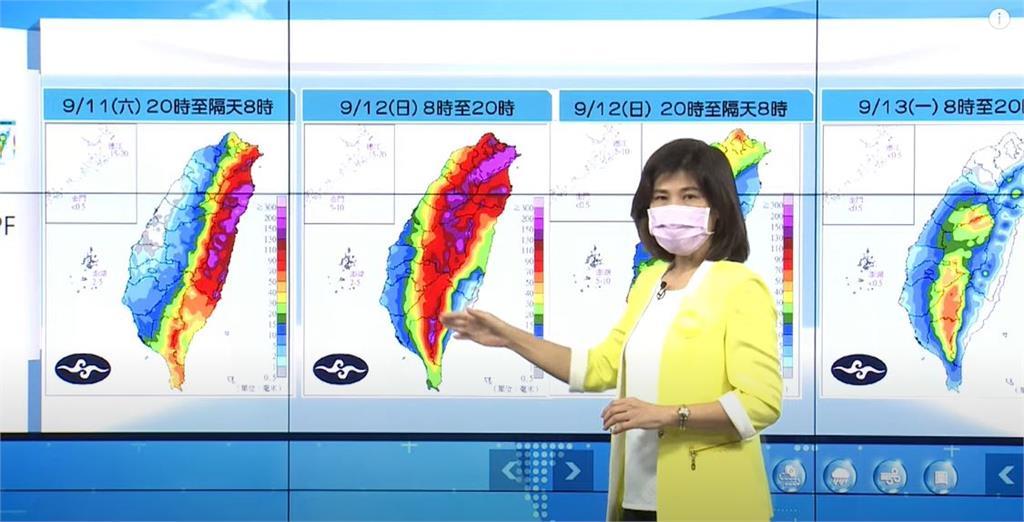 明天早上8點至晚上8點,全台各地都有降雨,尤其東部及山區更可能出現豪雨。圖/台視新聞