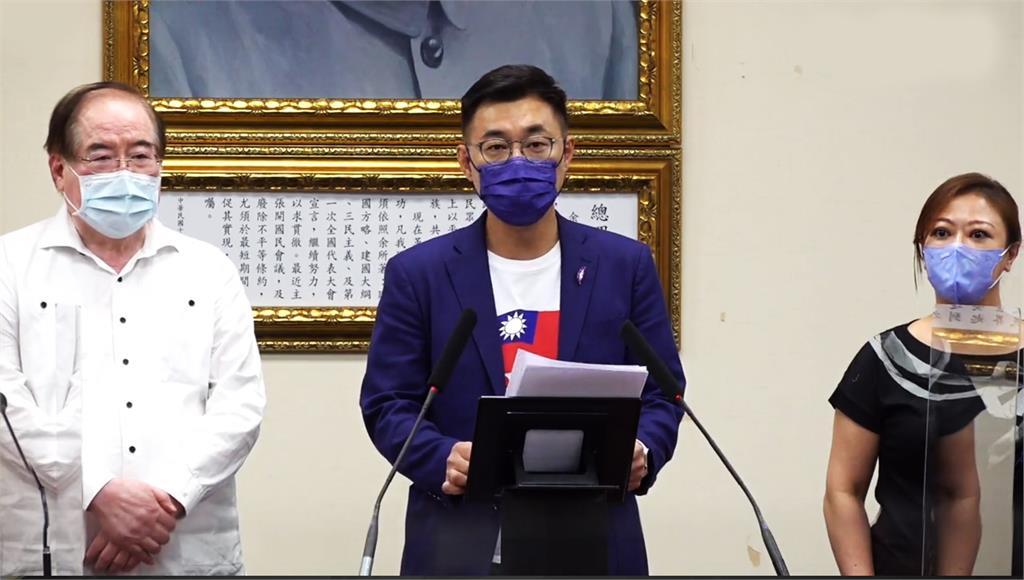 江啟臣恭賀朱立倫勝選。圖/台視新聞