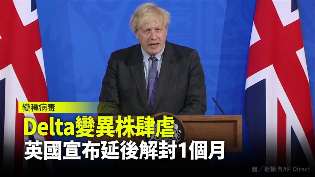 英相強森宣布延期解封。圖/AP
