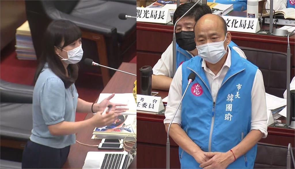 時代力量議員黃捷正在質詢高雄市長韓國瑜。圖:台視新聞(資料照)