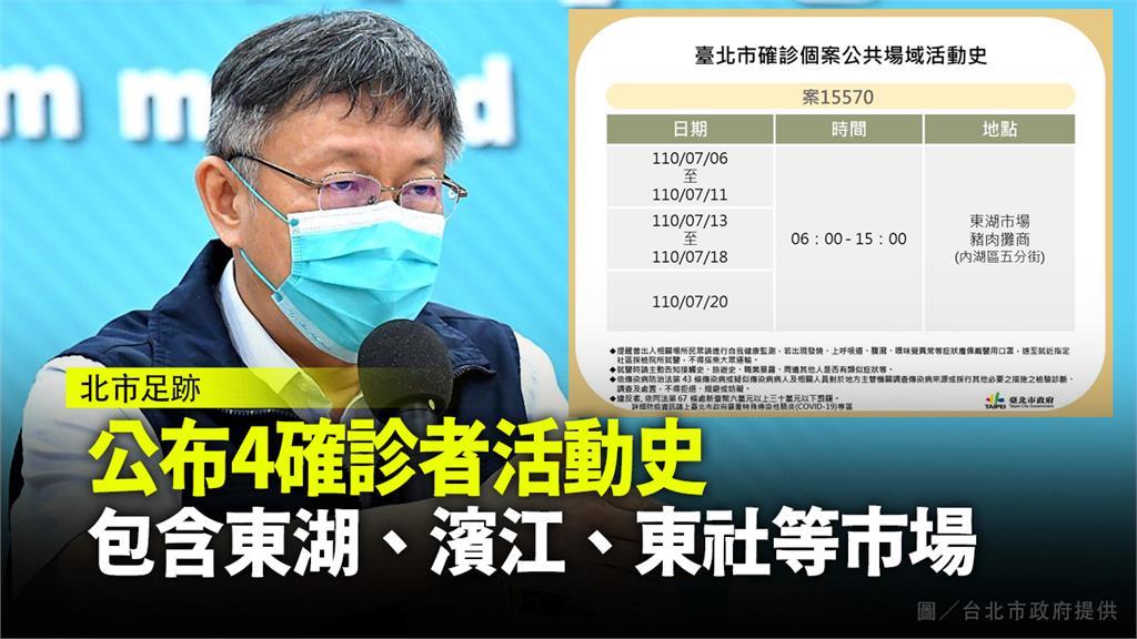北市公布4確診者足跡,包含東湖、濱江、東社等市場。圖/台北市政府提供