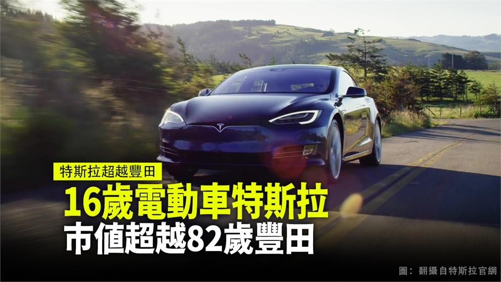 上市16年的電動車特斯拉,市值超越82年豐田汽車。圖:台視新聞