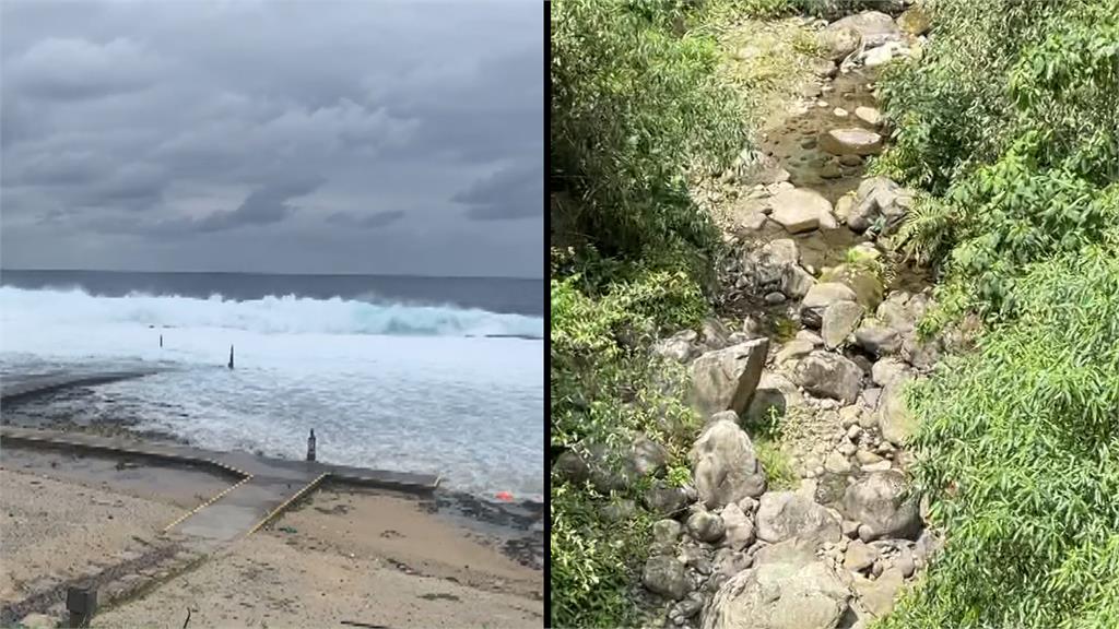 觀光景點兩樣情,朝日溫泉(左)遭海淹沒,溪頭(右)流水全乾涸。圖/台視新聞