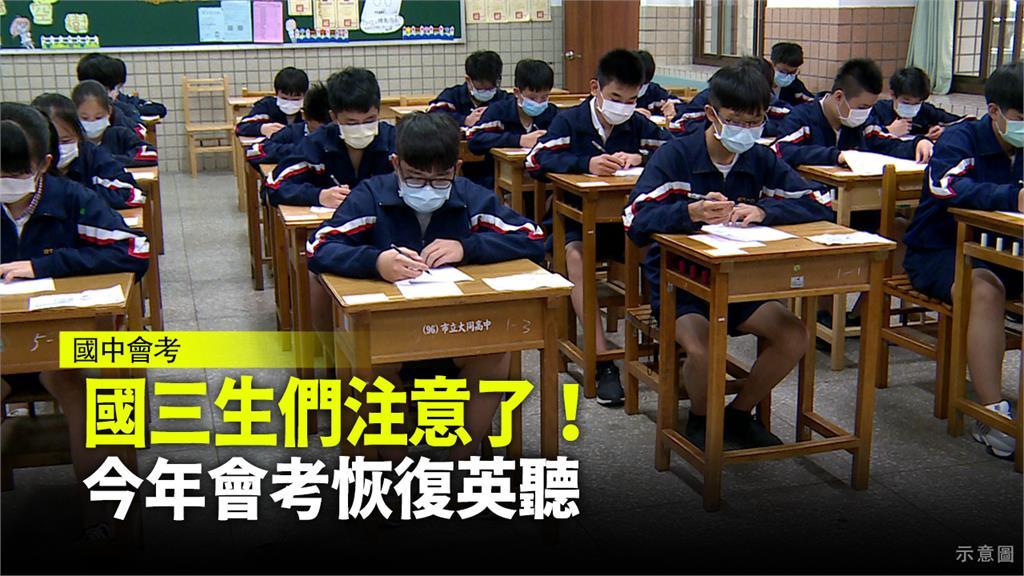 國中教育會考日期不變,考試範圍縮小,會考英文聽力。圖:台視新聞