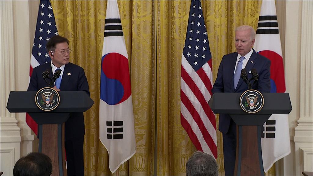 美韓召開領袖峰會,雙方同意在疫苗及晶片領域強化合作。圖:AP