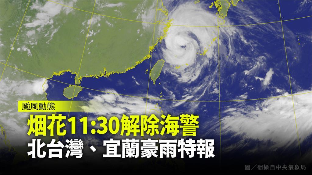 烟花清晨距台最近,最快中午解除海上颱風警報。圖/翻攝自中央氣象局