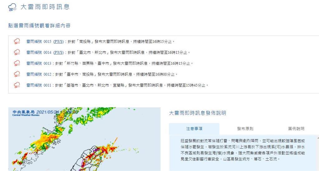 氣象局公布大雷雨即時訊息。圖/翻攝自中央氣象局