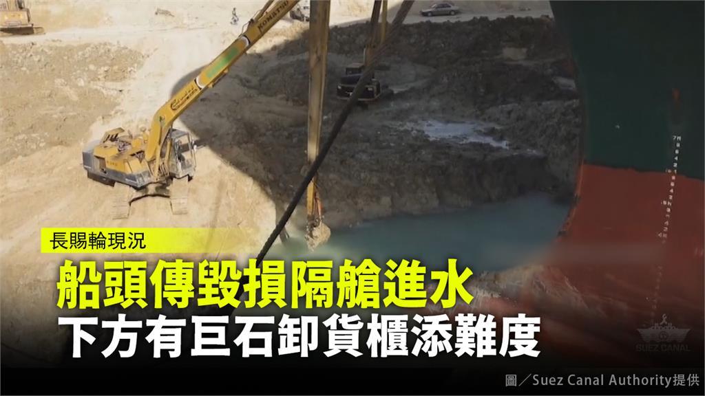 長賜號船頭傳毀損隔艙進水  下方有巨石卸貨櫃添難度。圖/Suez Canal Authority提供
