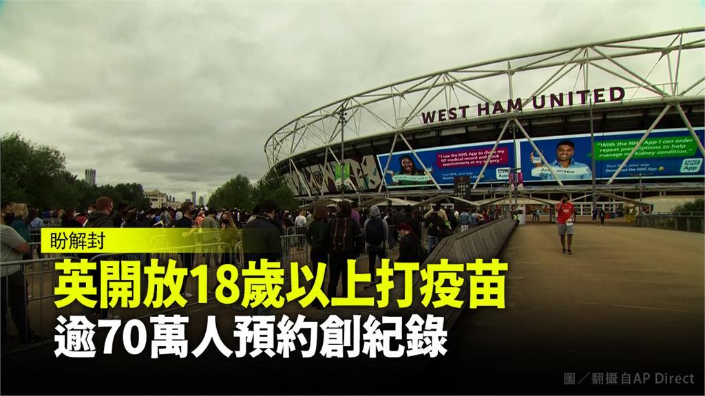 倫敦體育館充當疫苗接種站供民眾施打。圖/AP