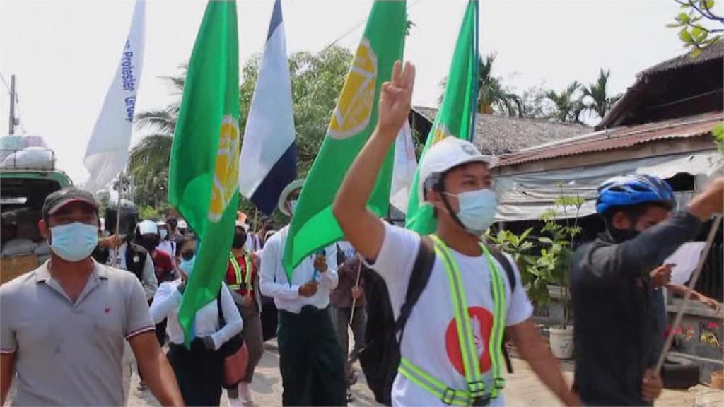 緬甸反軍政府示威越演越烈。圖/翻攝自AP Direct