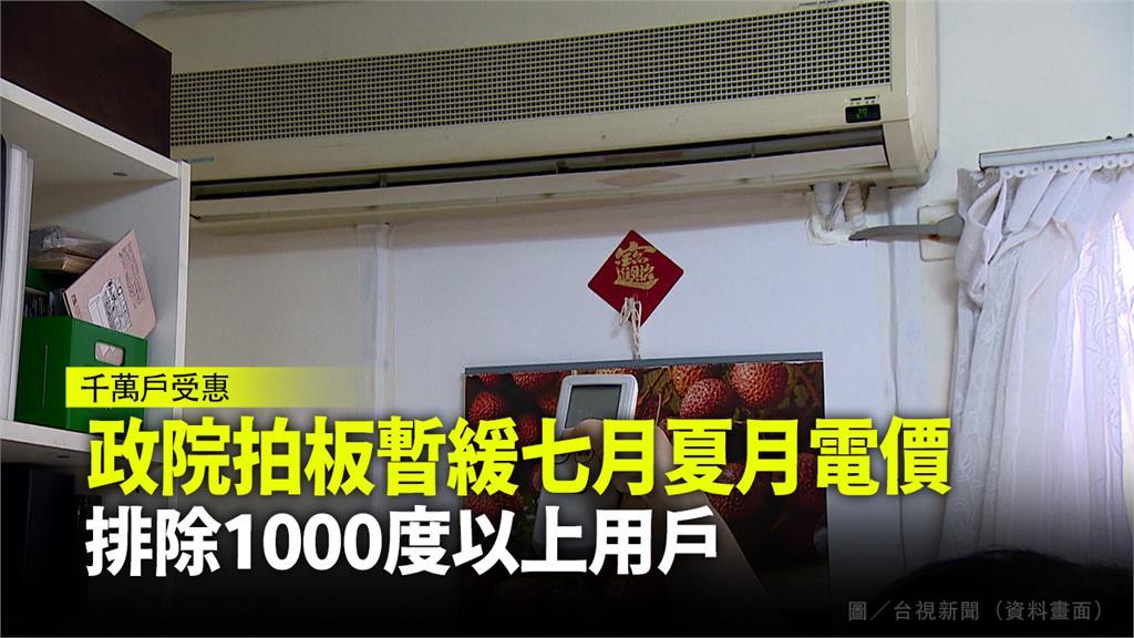 政院拍板暫緩七月夏月電價,排除1000度以上用戶。圖/台視新聞(資料畫面)