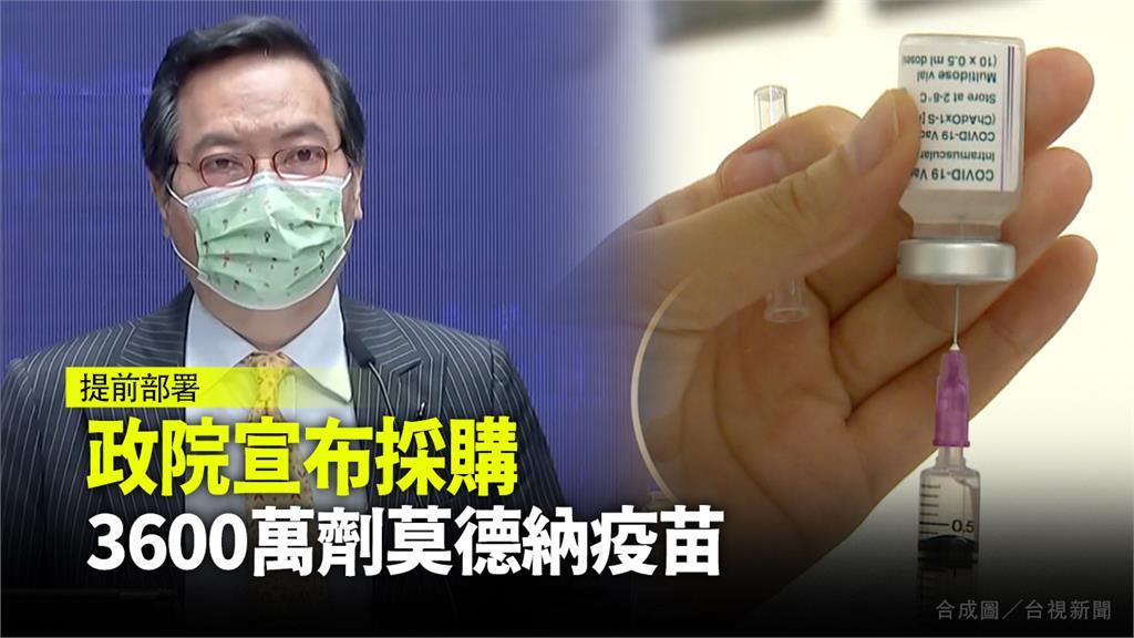 行政院宣布已簽約採購3600萬劑莫德納疫苗。圖/台視新聞