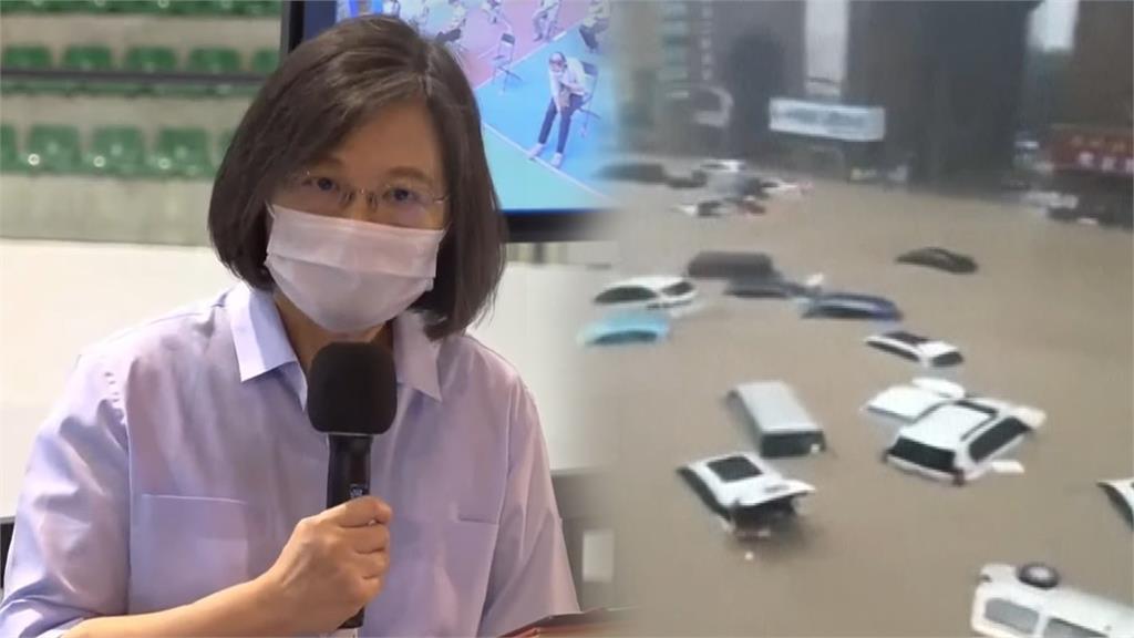 鄭州暴雨釀多死 蔡英文表達慰問「盼早日脫離洪害」。合成圖/台視新聞(資料畫面)+翻攝自AP Direct