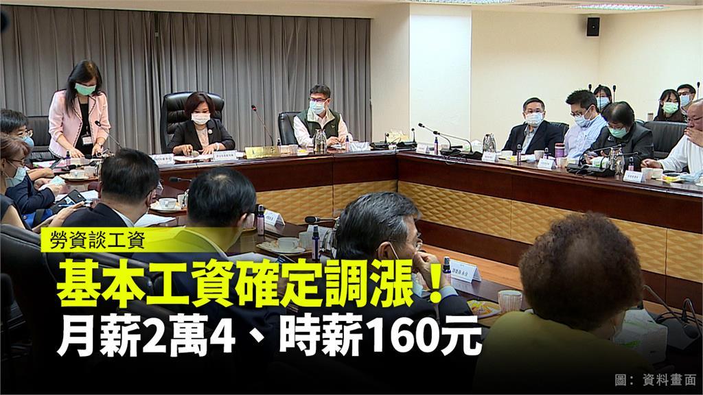 勞動部宣布,基本工資調整為月薪2萬4、時薪160元。圖:台視新聞