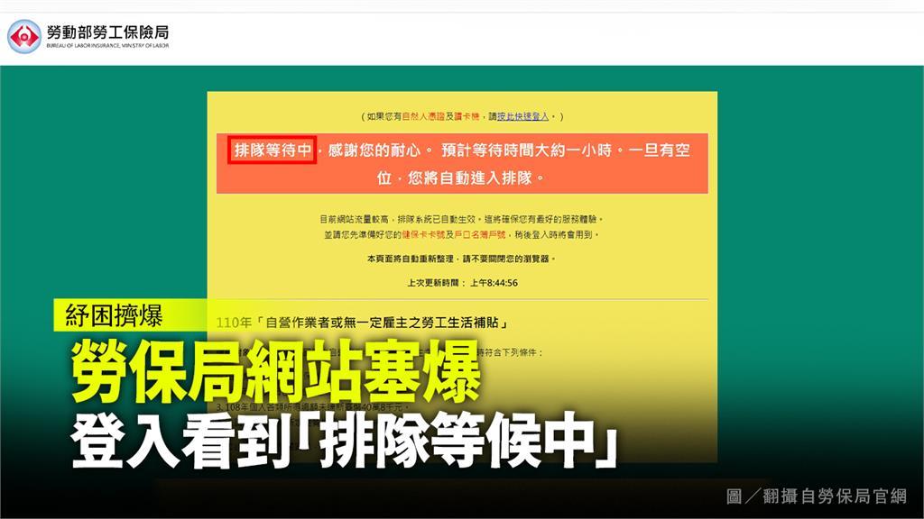 勞保局網頁塞車,不斷顯示「等待中」。圖/翻攝自勞保局官網