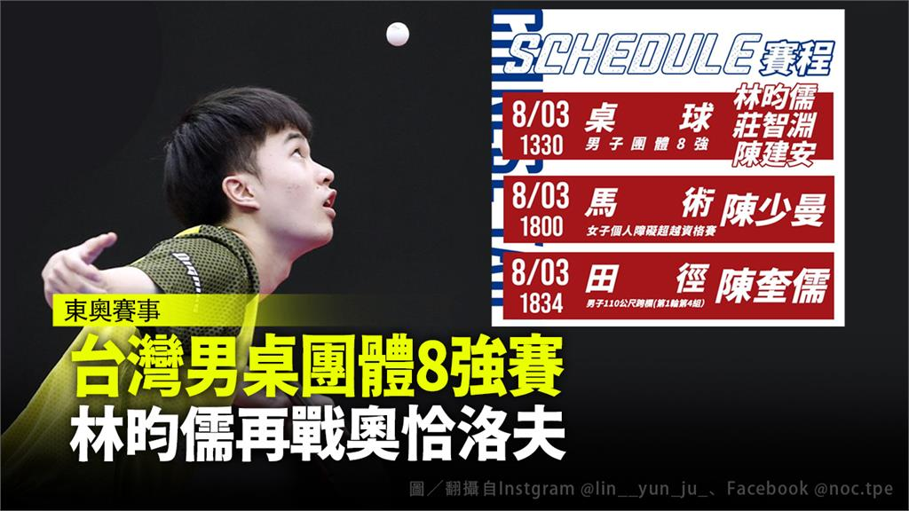 林昀儒今天將在男子桌球團體賽,強碰德國名將奧恰洛夫。合成圖/翻攝自Instgram @lin__yun_ju_、Facebook @noc.tpe