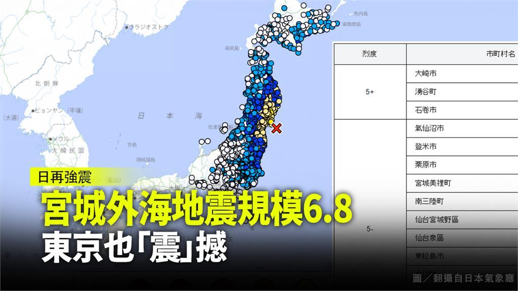 日本宮城縣外海發生規模6.8地震。圖/翻攝自日本氣象廳
