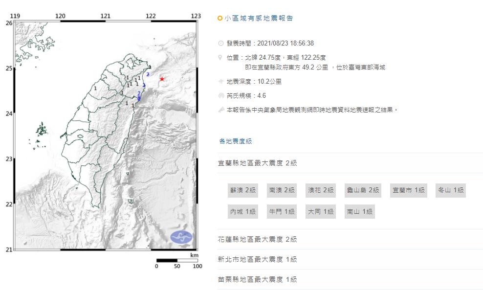 台灣東部海域發生有感地震,宜蘭、花蓮震度二級。圖/翻攝自中央氣象局