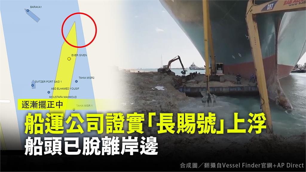 船運公司證實「長賜號」上浮 船頭已脫離岸邊。合成圖/翻攝自Vessel Finder官網+AP Direct
