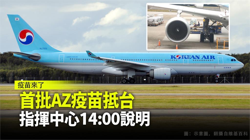 台灣首批AZ疫苗已由大韓航空運抵桃園機場。圖:翻攝自維基百科、AP Direct