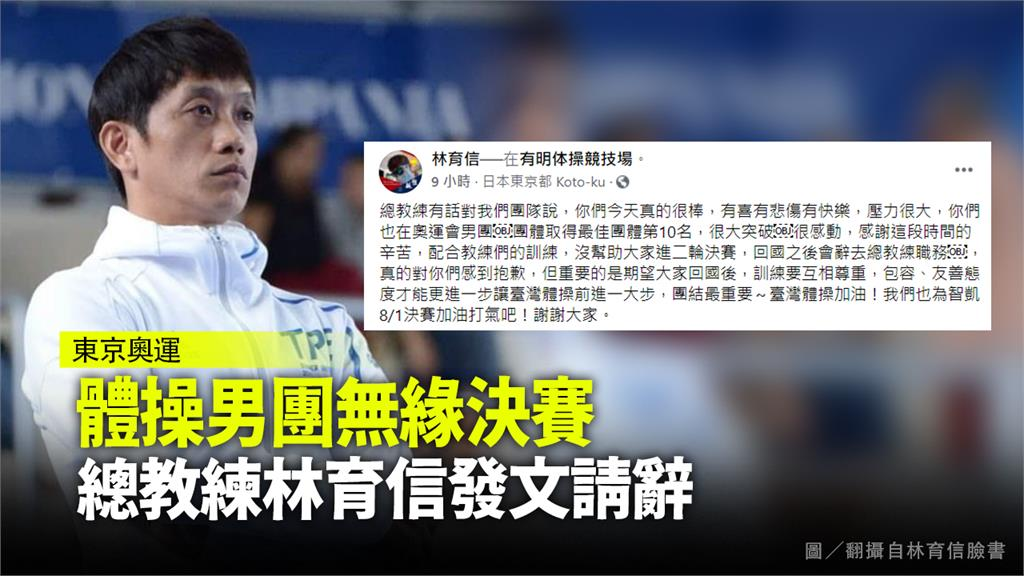 體操男團無緣決賽 總教練林育信發文請辭