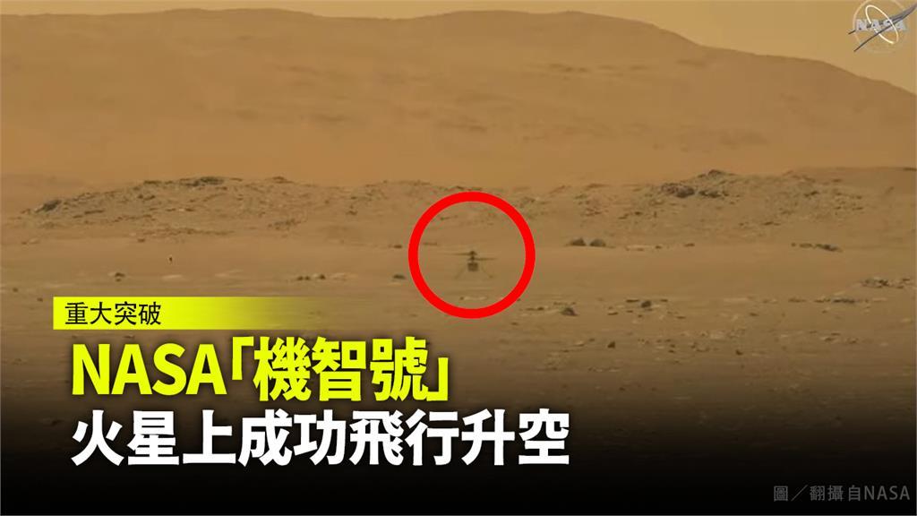 機智號直升機成功於火星上升空。圖/翻攝自NASA