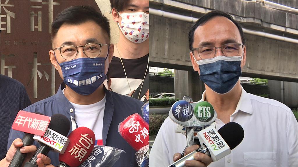 國民黨主席候選人江啟臣(左)、朱立倫(右)。圖/台視新聞