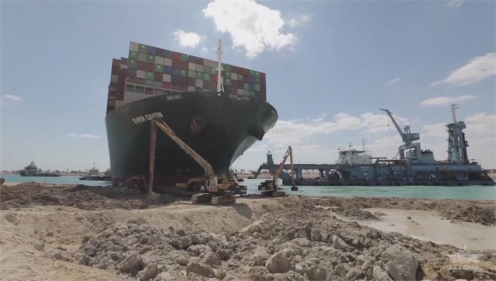 長賜輪船頭導正80%有望通行,救援公司卻不樂觀。圖/台視新聞